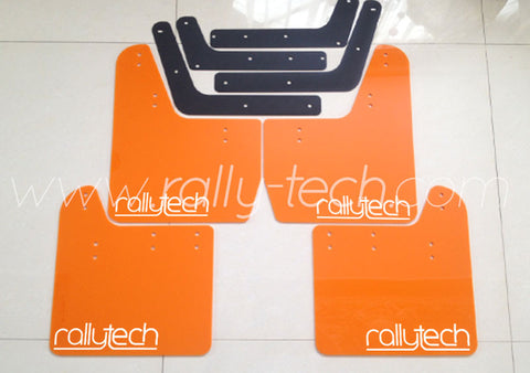 4MM POLYURETHANE MUDFLAP KIT - IMPREZA GD/GG (02-07) - ORANGE - NEW LOGO WHITE