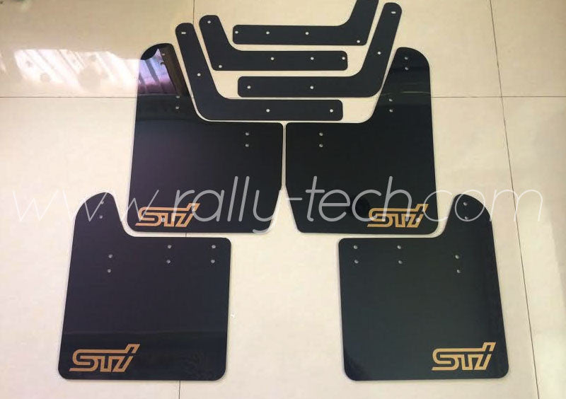 4MM POLYURETHANE MUDFLAP KIT - IMPREZA GD/GG (02-07) - BLACK, GOLD S T I STYLE