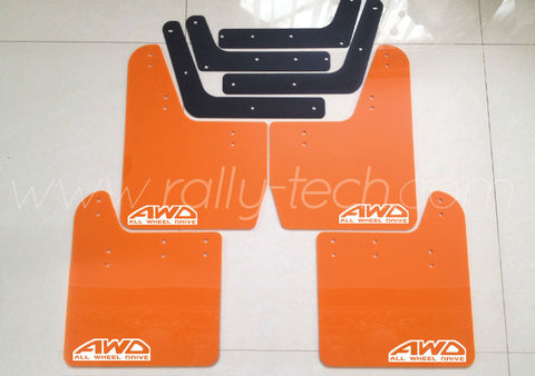 4MM POLYURETHANE MUDFLAP KIT - IMPREZA GD/GG (02-07) - ORANGE - AWD RETRO