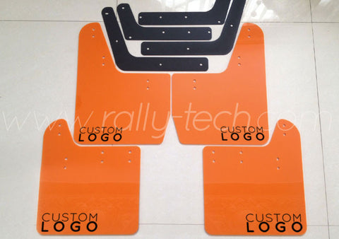 4MM POLYURETHANE MUDFLAP KIT - IMPREZA GD/GG (02-07) - ORANGE - CUSTOM LOGO