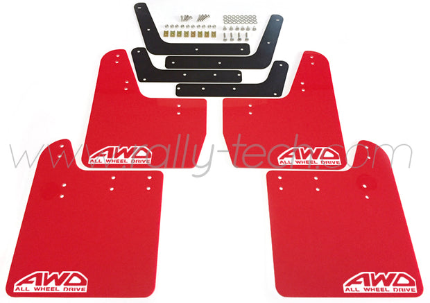 4MM POLYURETHANE MUDFLAP KIT - IMPREZA GD/GG (02-07) - RED - RALLYTECH - AWD RETRO W
