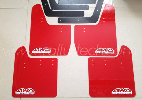 4MM POLYURETHANE MUDFLAP KIT - IMPREZA GD/GG (02-07) - RED, WHITE AWD RETRO