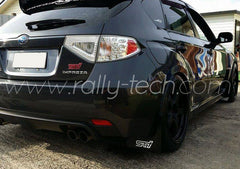 4MM POLYURETHANE MUDFLAP KIT - IMPREZA GR/GV (08-13) - RED - AWD RETRO LOGO