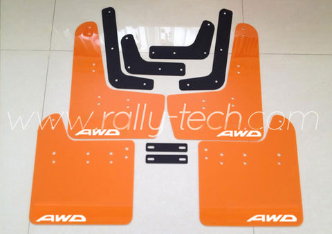 4MM POLYURETHANE MUDFLAP KIT - IMPREZA GR/GV (08-13) - ORANGE - AWD LOGO