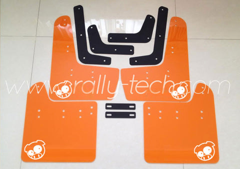 4MM POLYURETHANE MUDFLAP KIT - IMPREZA GR/GV (08-13) - ORANGE - PIG LOGO