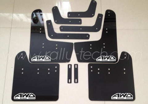 4MM POLYURETHANE MUDFLAP KIT - IMPREZA GR/GV (08-13) - BLACK - AWD RETRO WHITE