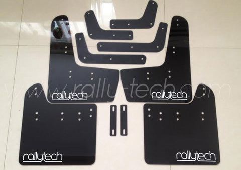 4MM POLYURETHANE MUDFLAP KIT - IMPREZA GR/GV (08-13) - BLACK - NEW LOGO WHITE