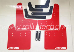 4MM POLYURETHANE MUDFLAP KIT - IMPREZA GR/GV (08-13) - RED - AWD LOGO