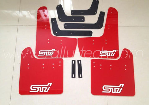 4MM POLYURETHANE MUDFLAP KIT - IMPREZA GR/GV (08-13) - RED - WHITE LOGO