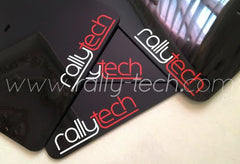 4MM POLYURETHANE MUDFLAP KIT - LANCER EVO 5 & 6 - BLACK - NEW LOGO RED