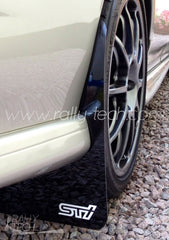 4MM POLYURETHANE MUDFLAP KIT - IMPREZA GC/GM/GF (93-01) - BLACK - S T I STYLE LOGO WHITE