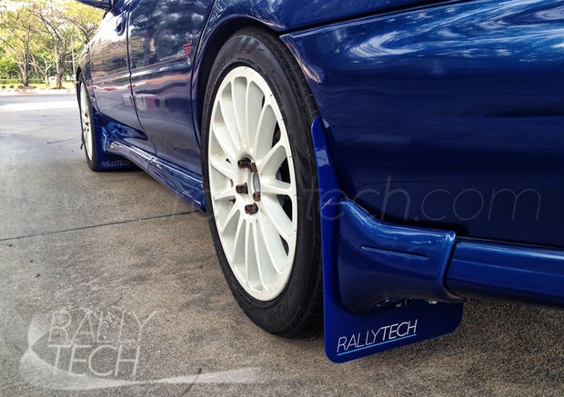 4MM POLYURETHANE MUDFLAP KIT - IMPREZA GC/GM/GF (93-01) - BLUE - RSTI WHITE
