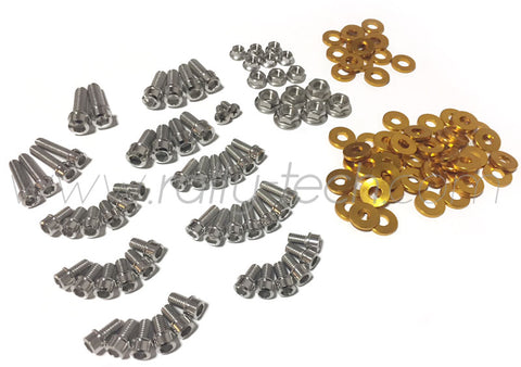 ENGINE BAY DRESS UP BOLT KIT - MACHINED HEADS - SUBARU EJ ENGINE - GOLD