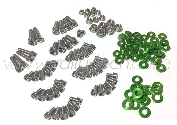 ENGINE BAY DRESS UP BOLT KIT - MACHINED HEADS - SUBARU EJ ENGINE - GREEN
