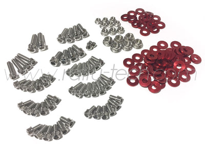 ENGINE BAY DRESS UP BOLT KIT - MACHINED HEADS - SUBARU EJ ENGINE - RED