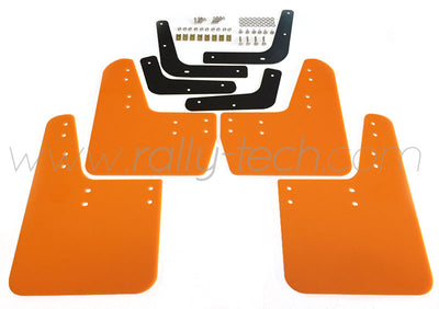 4MM POLYURETHANE MUDFLAP KIT - LANCER EVO 5 & 6 - ORANGE