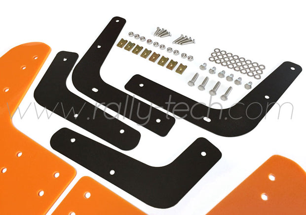 4MM POLYURETHANE MUDFLAP KIT - LANCER EVO 5 & 6 - ORANGE - RALLYTECH