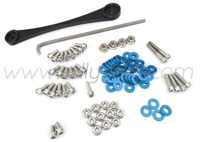 ENGINE BAY DRESS UP BOLT KIT & BILLET BATTERY CLAMP - HONDA K20 - BLUE