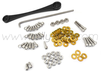 ENGINE BAY DRESS UP BOLT KIT & BILLET BATTERY CLAMP - HONDA K20 - GOLD