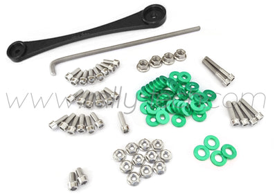 ENGINE BAY DRESS UP BOLT KIT & BILLET BATTERY CLAMP - HONDA K20 - GREEN