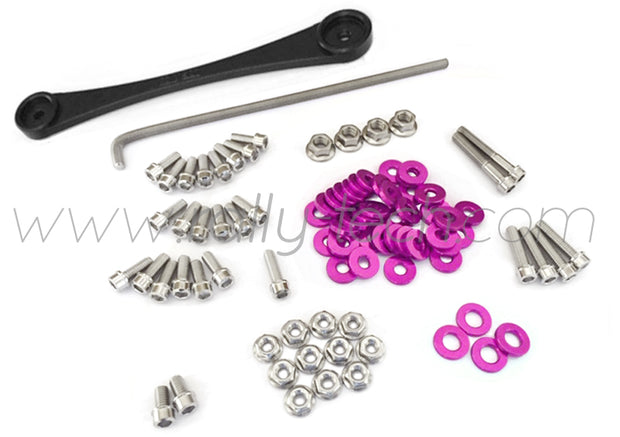 ENGINE BAY DRESS UP BOLT KIT & BILLET BATTERY CLAMP - HONDA K20 - PURPLE