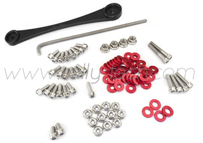 ENGINE BAY DRESS UP BOLT KIT & BILLET BATTERY CLAMP - HONDA K20 - RED
