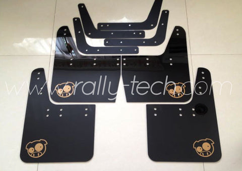 4MM POLYURETHANE MUDFLAP KIT - IMPREZA GC/GM/GF (93-01) - BLACK - PIG LOGO GOLD
