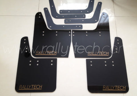 4MM POLYURETHANE MUDFLAP KIT - IMPREZA GC/GM/GF (93-01) - BLACK - CLASSIC GOLD LOGO