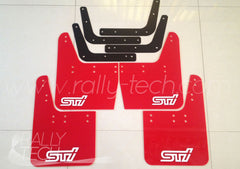 4MM POLYURETHANE MUDFLAP KIT - IMPREZA GC/GM/GF (93-01) - RED - WHITE S T I STYLE