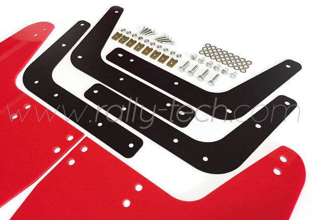 4MM POLYURETHANE MUDFLAP KIT - IMPREZA GC/GM/GF (93-01) - RED - WHITE RSTI