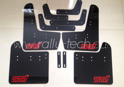 4MM POLYURETHANE MUDFLAP KIT - IMPREZA GR/GV (08-13) - BLACK, RED S T I STYLE