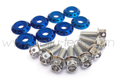 FENDER DRESS UP BOLT KIT - SUBARU - SILVER - BLUE WASHERS
