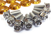 FENDER DRESS UP BOLT KIT - SUBARU - SILVER - GOLD WASHERS