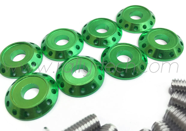 FENDER DRESS UP BOLT KIT - SUBARU - SILVER - GREEN WASHERS