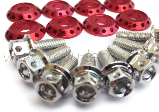 FENDER DRESS UP BOLT KIT - SUBARU - SILVER - RED WASHERS