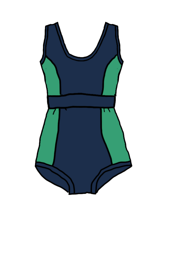 One Piece Swimsuit Navy / Green