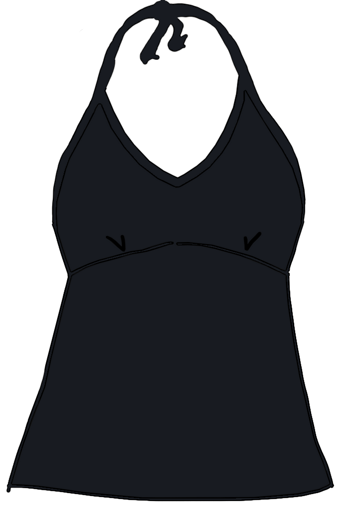 Black Swimwear Halter Tank