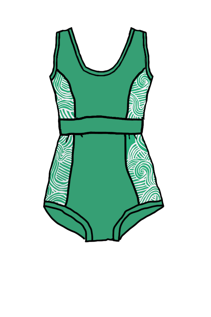 One Piece Swimsuit Green Zen