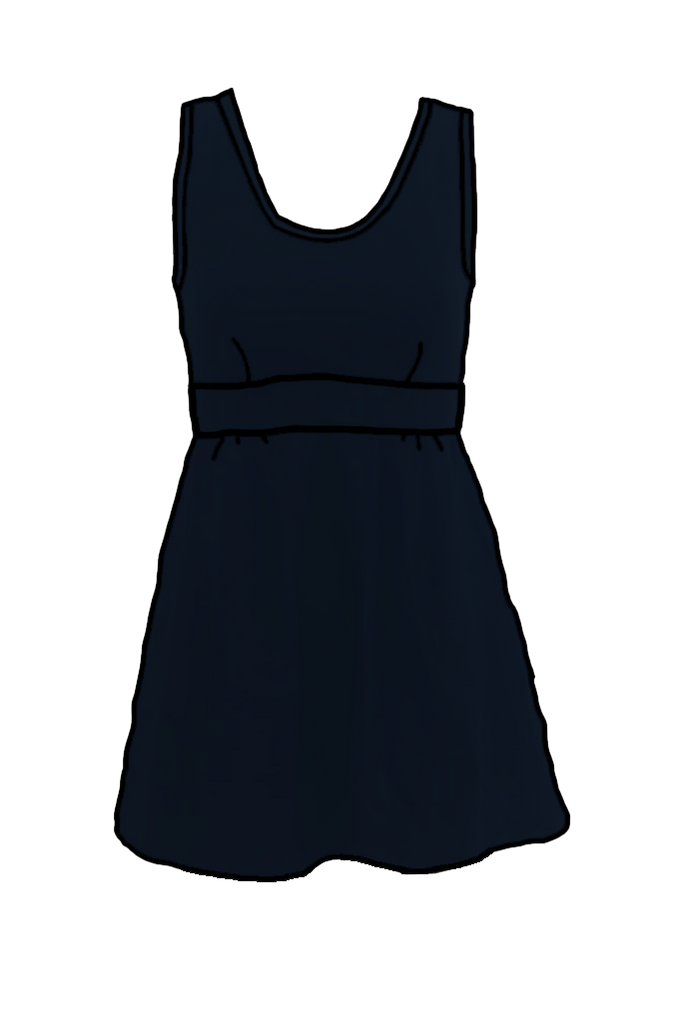 Black Flared Swim Dress