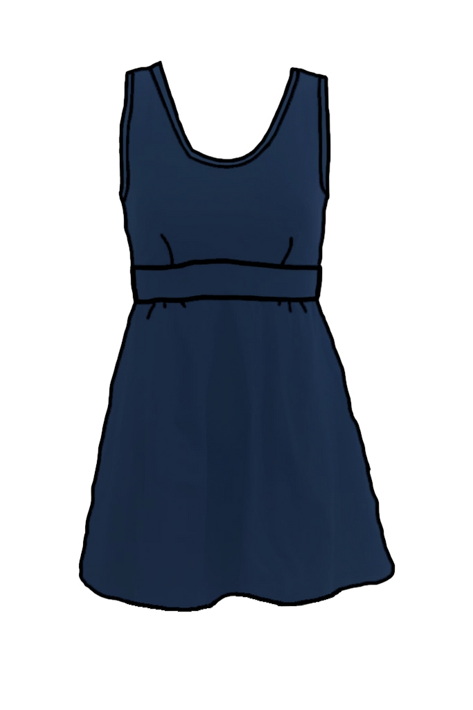 Navy Flared Swim Dress