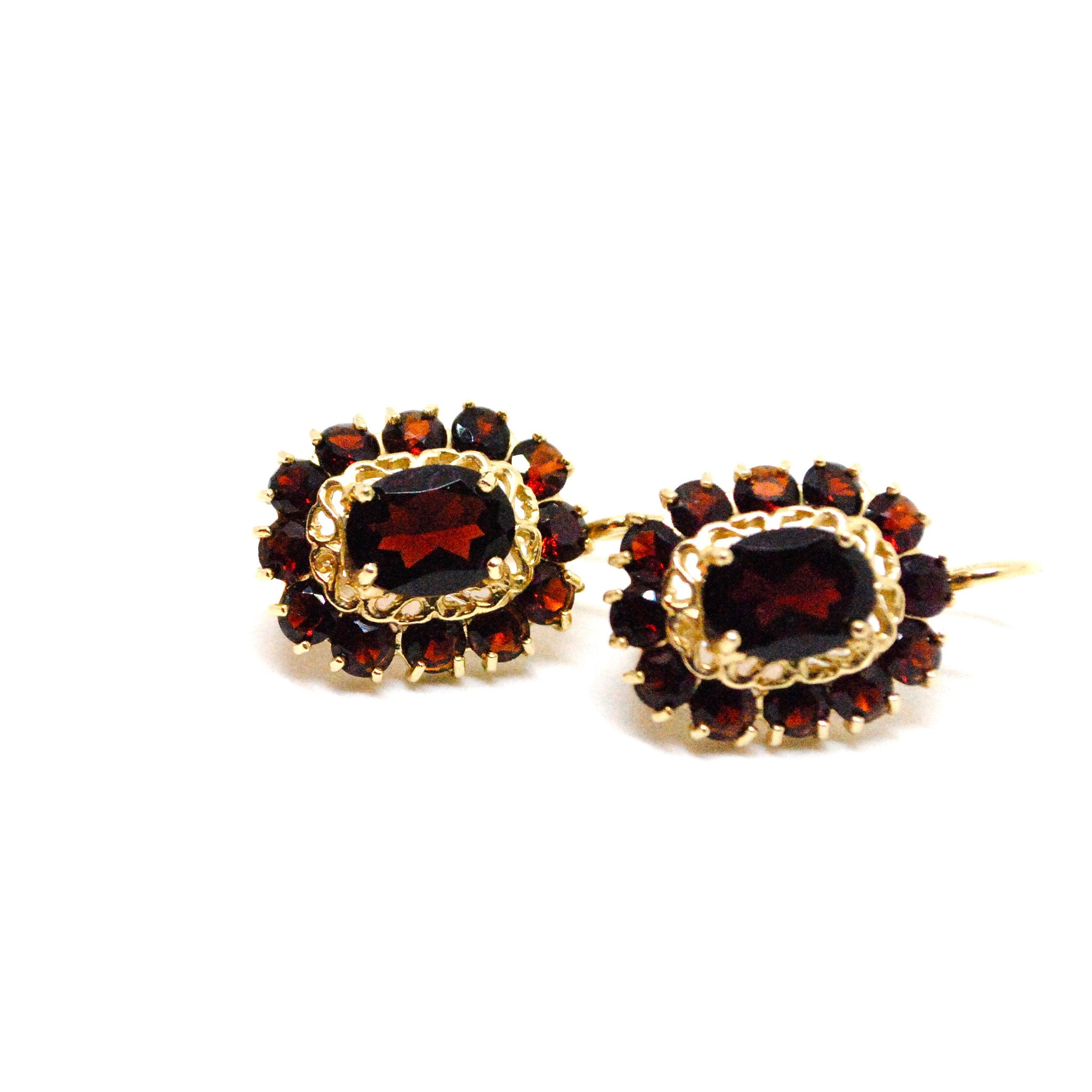 Garnet And Gold French Back Earrings