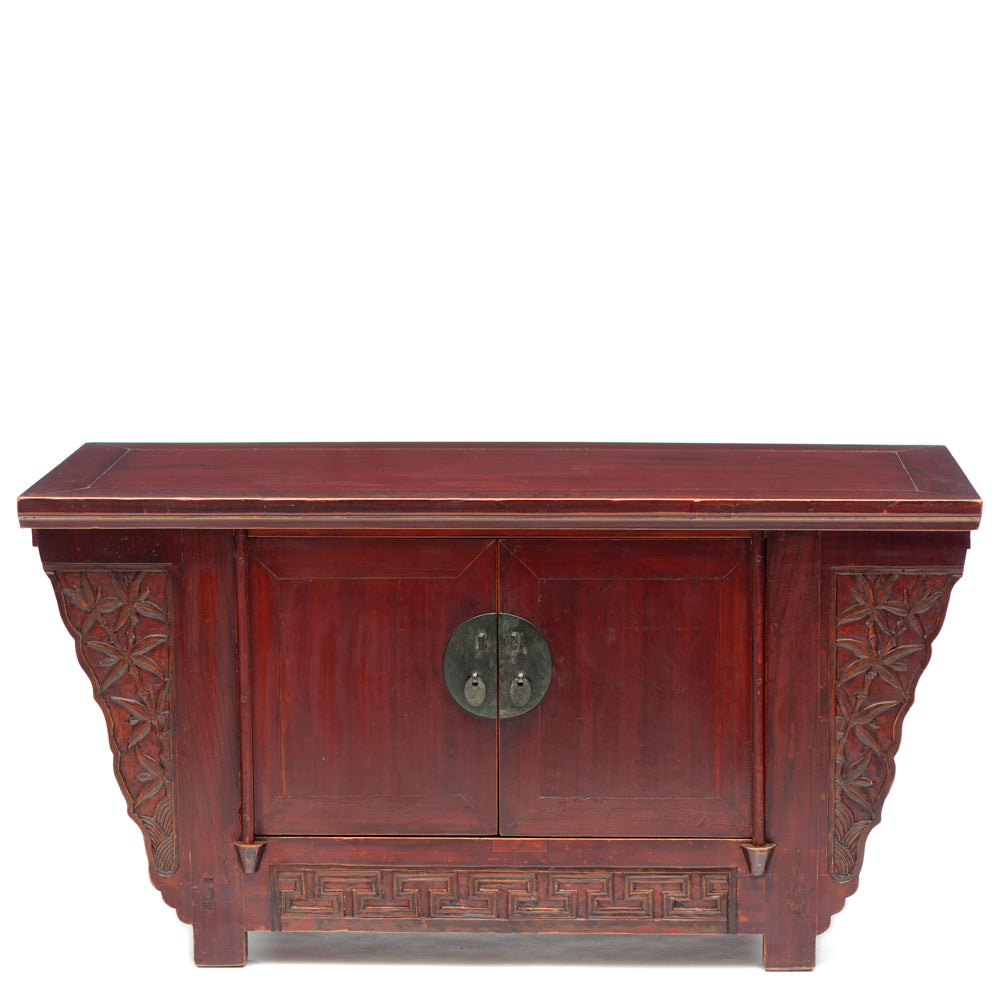 antique Chinese cabinet with bamboo carving