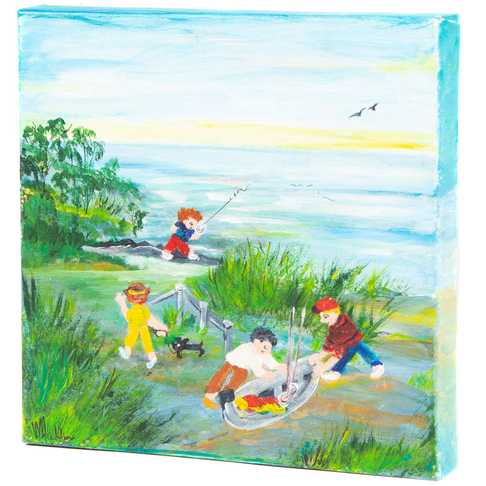 Early morning fishing: contemporary art NSW by Wendy Macklin