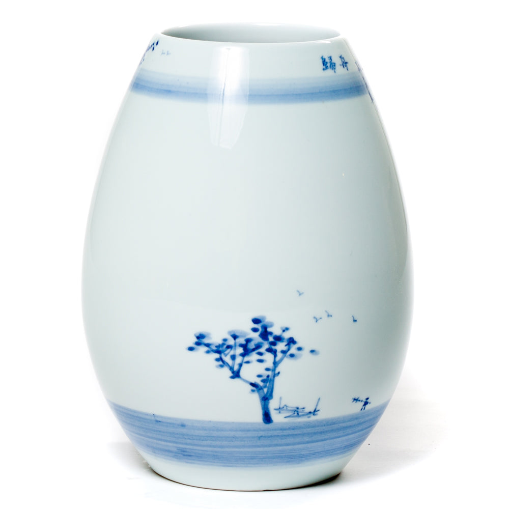 Egg-shaped hand painted porcelain vase with lake scene painting