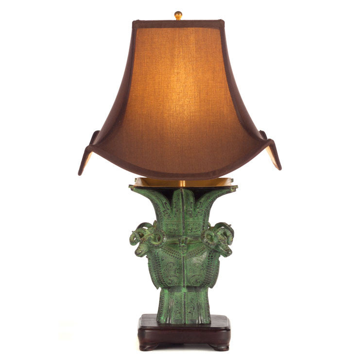 chinese bronze table lamp