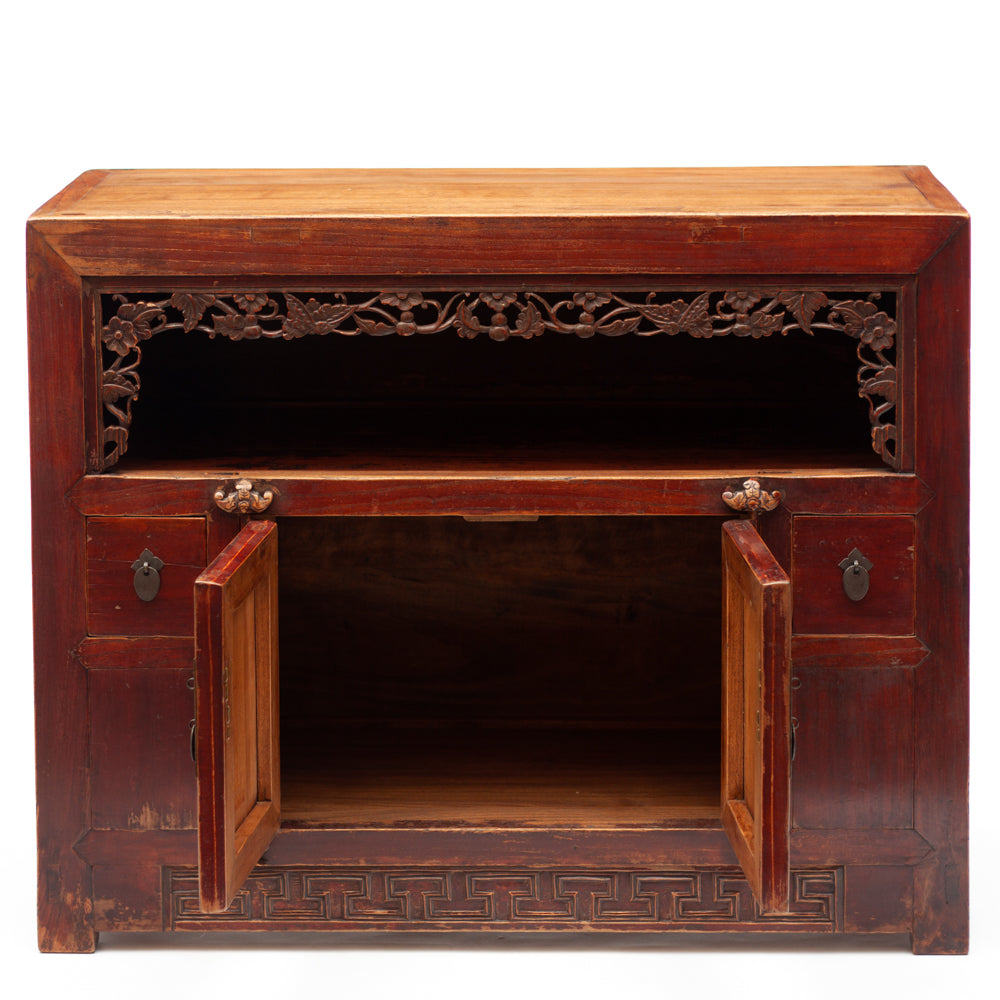 Antique Chinese display cabinet with longevity motifs