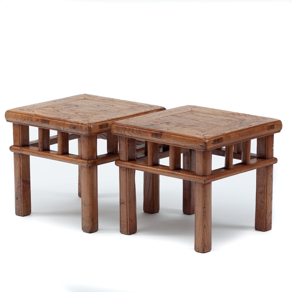 Low square stools with wraparound stretchers