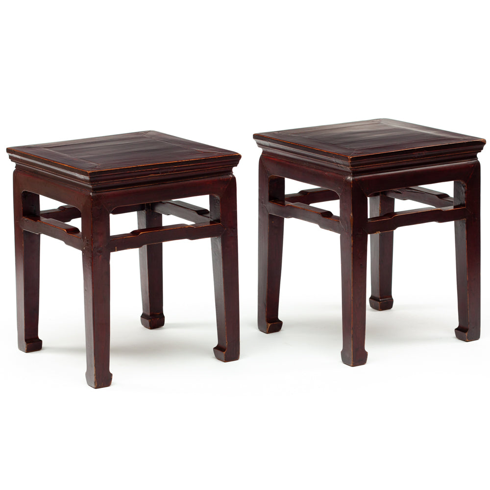 Deep plum red lacquered stools