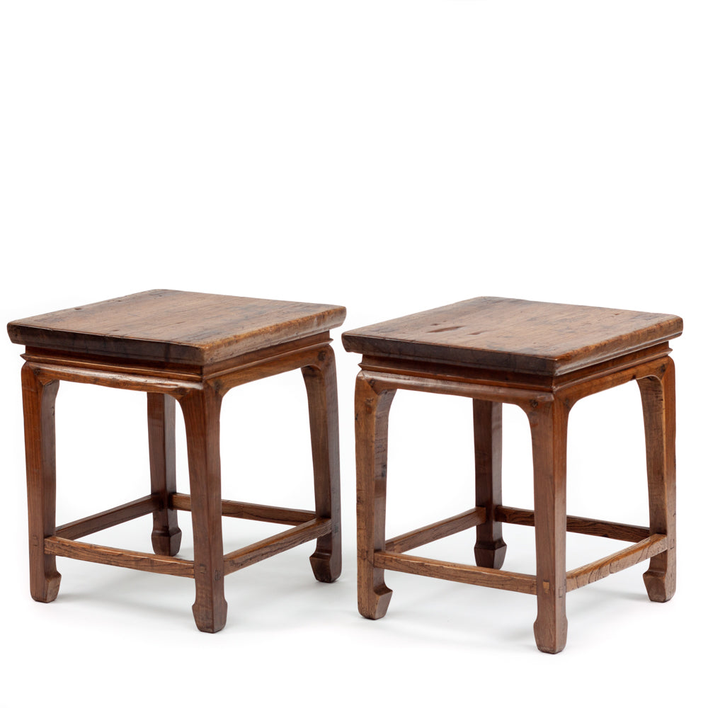 Square walnut stools
