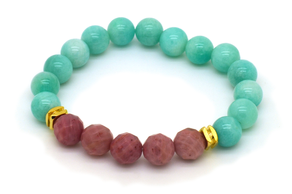 Amazonite and Rhodonite Bracelet